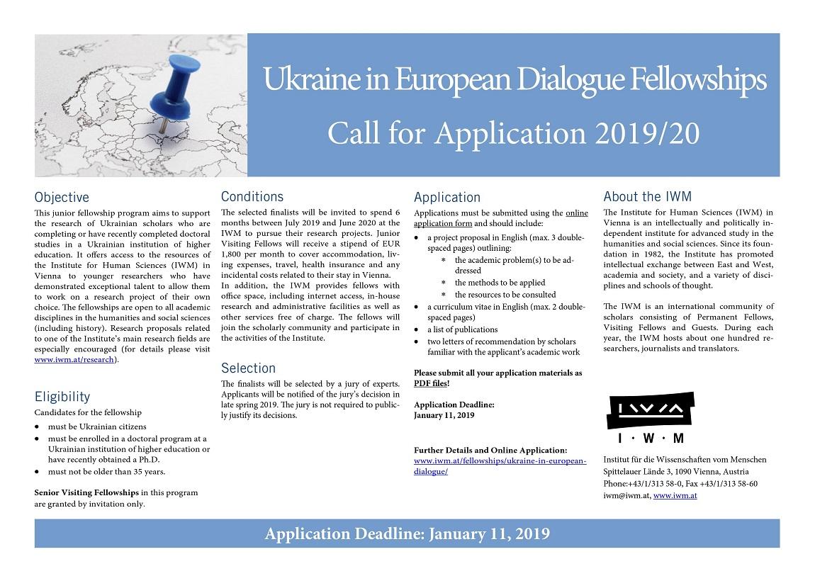 Ukraine in Еuropean Dialogue Fellowships  Call for Application 2019/20